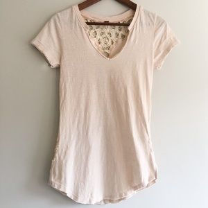 Free People Ballet Pink Lace Back Tee